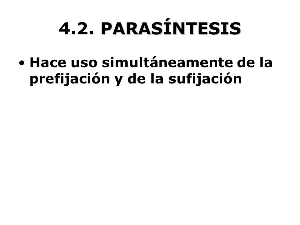 4.2. PARASÍNTESIS Hace uso simultáneamente de la prefijación y de la sufijación