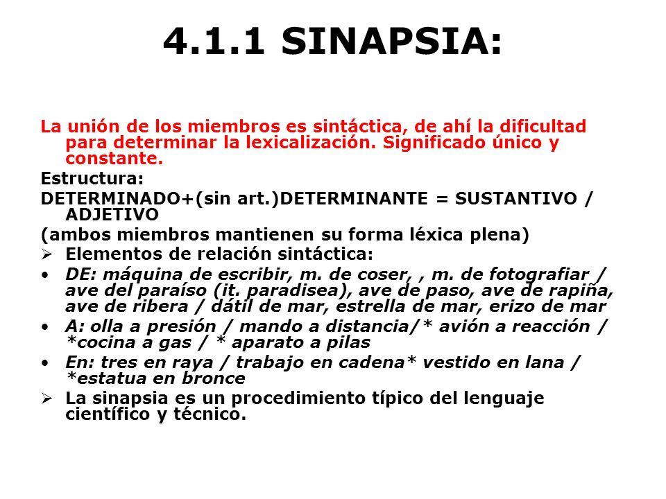 4.1.1 SINAPSIA: La unión de los miembros es sintáctica, de ahí la dificultad para determinar la lexicalización. Significado único y constante.