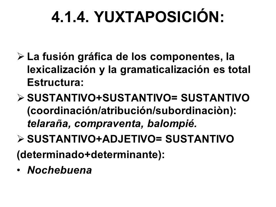 4.1.4. YUXTAPOSICIÓN: La fusión gráfica de los componentes, la lexicalización y la gramaticalización es total Estructura: