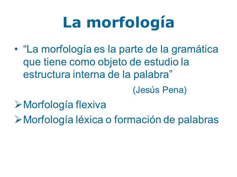 La morfología La morfología es la parte de la gramática que tiene como objeto de estudio la estructura interna de la palabra