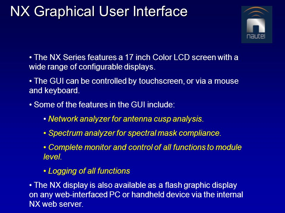 NX Graphical User Interface
