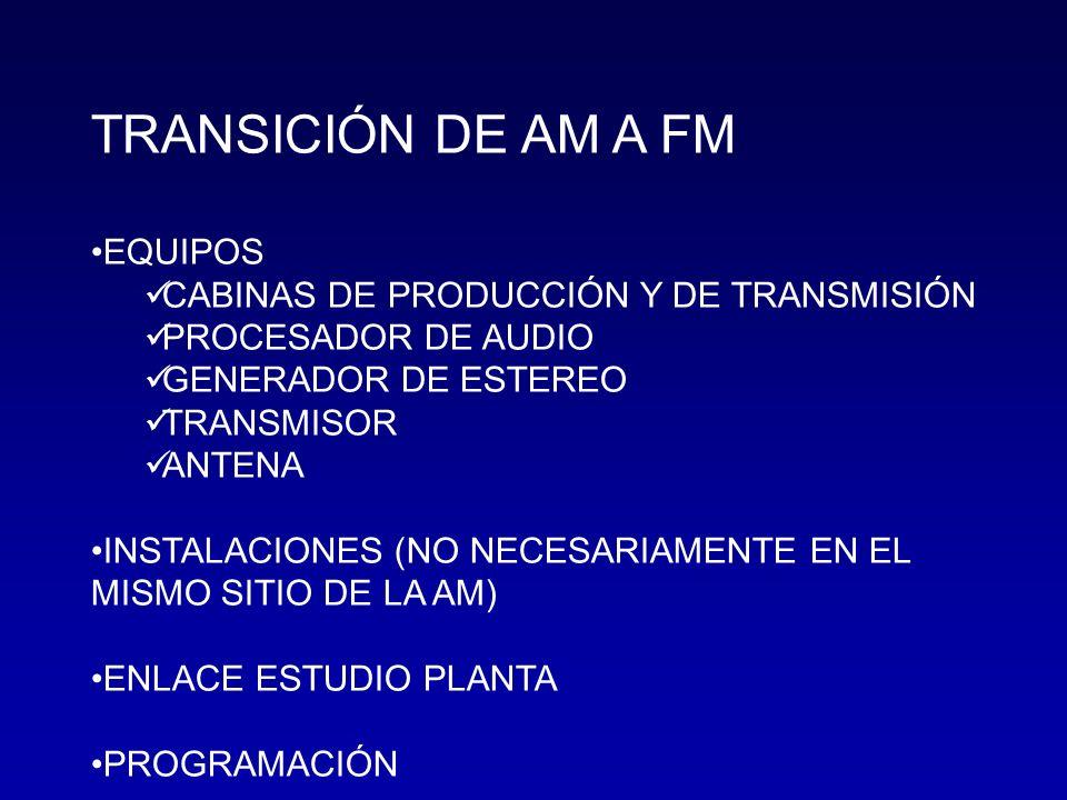 TRANSICIÓN DE AM A FM EQUIPOS CABINAS DE PRODUCCIÓN Y DE TRANSMISIÓN