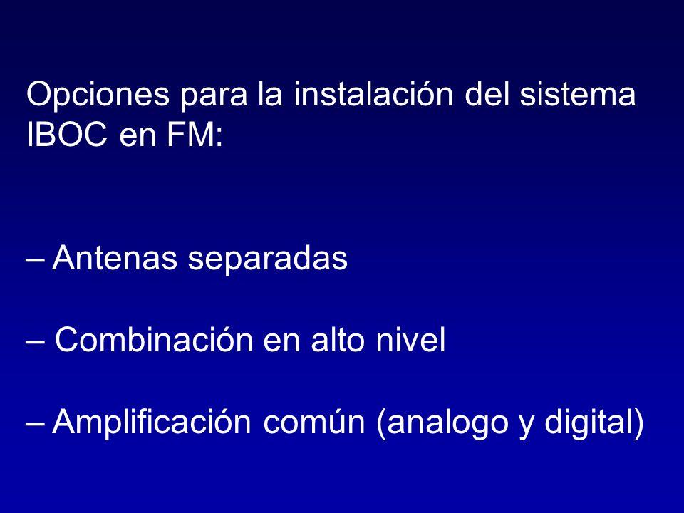 Opciones para la instalación del sistema IBOC en FM: