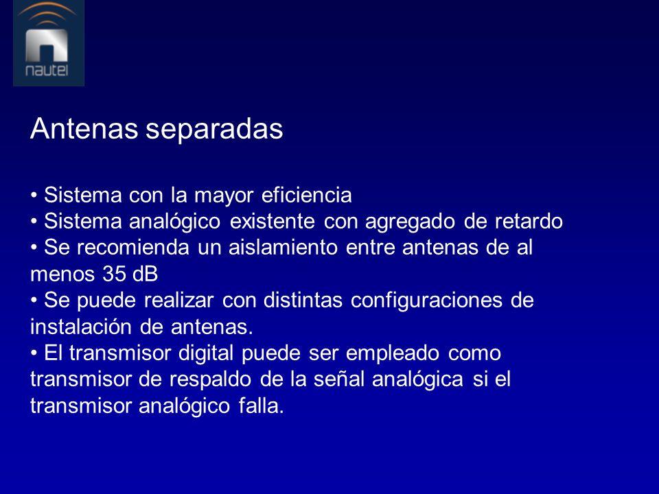 Antenas separadas • Sistema con la mayor eficiencia