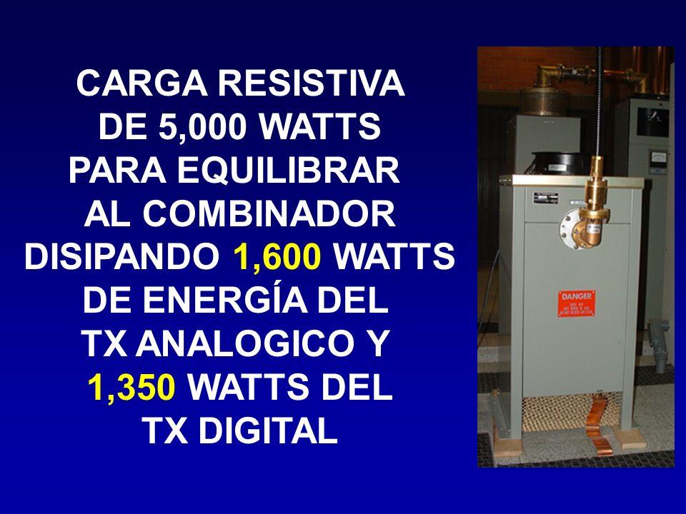 CARGA RESISTIVA DE 5,000 WATTS. PARA EQUILIBRAR. AL COMBINADOR. DISIPANDO 1,600 WATTS. DE ENERGÍA DEL.
