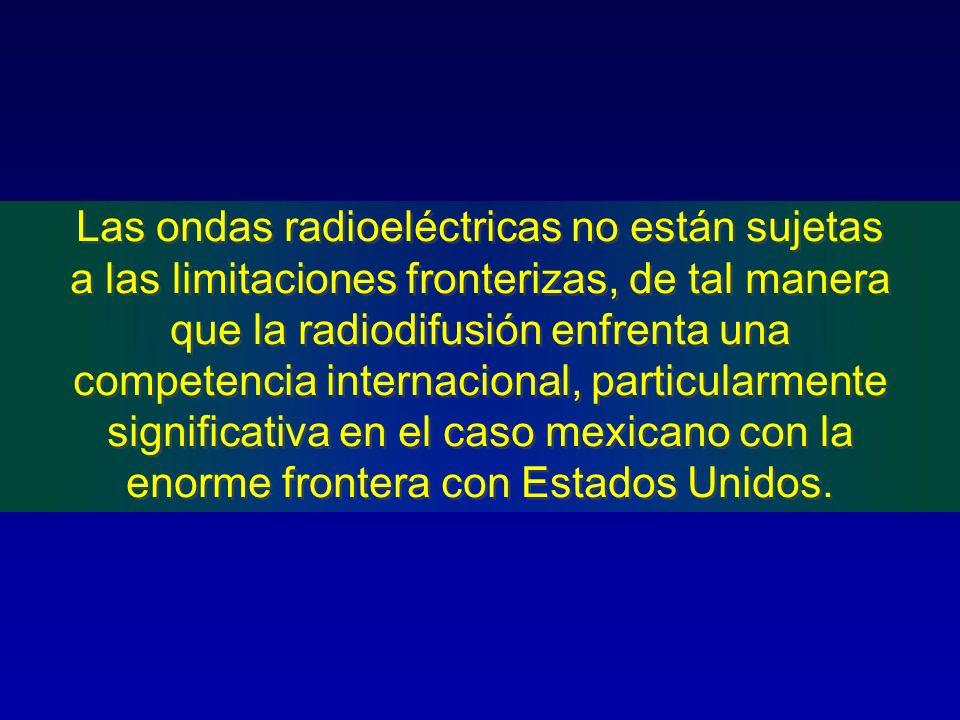 Las ondas radioeléctricas no están sujetas a las limitaciones fronterizas, de tal manera que la radiodifusión enfrenta una competencia internacional, particularmente significativa en el caso mexicano con la enorme frontera con Estados Unidos.