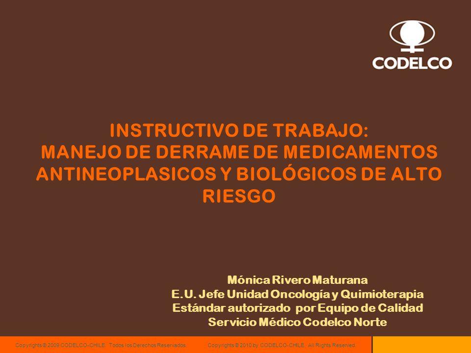 INSTRUCTIVO DE TRABAJO: MANEJO DE DERRAME DE MEDICAMENTOS ANTINEOPLASICOS Y BIOLÓGICOS DE ALTO RIESGO