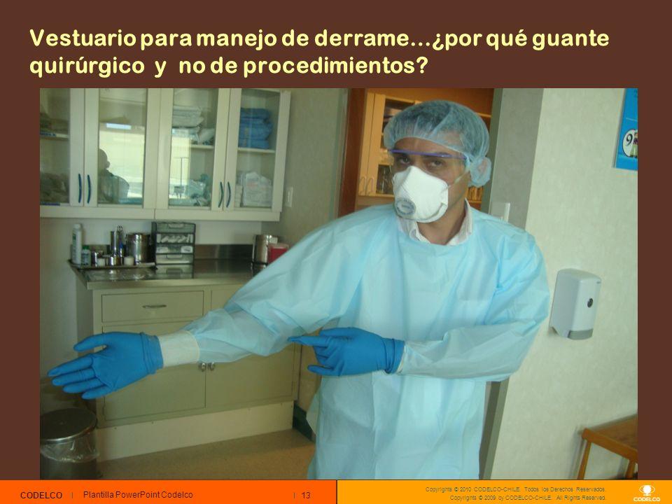Vestuario para manejo de derrame…¿por qué guante quirúrgico y no de procedimientos