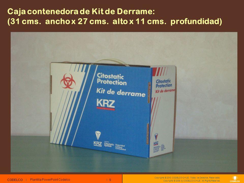 Caja contenedora de Kit de Derrame: (31 cms. ancho x 27 cms