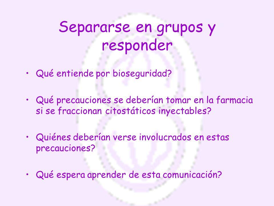 Separarse en grupos y responder