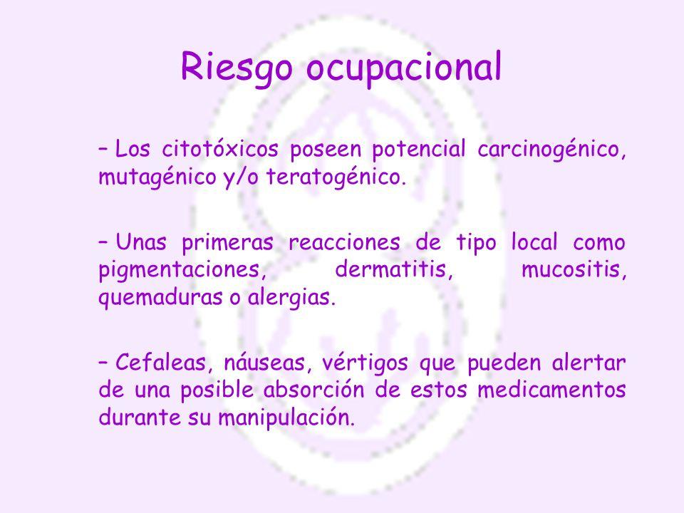 Riesgo ocupacional Los citotóxicos poseen potencial carcinogénico, mutagénico y/o teratogénico.