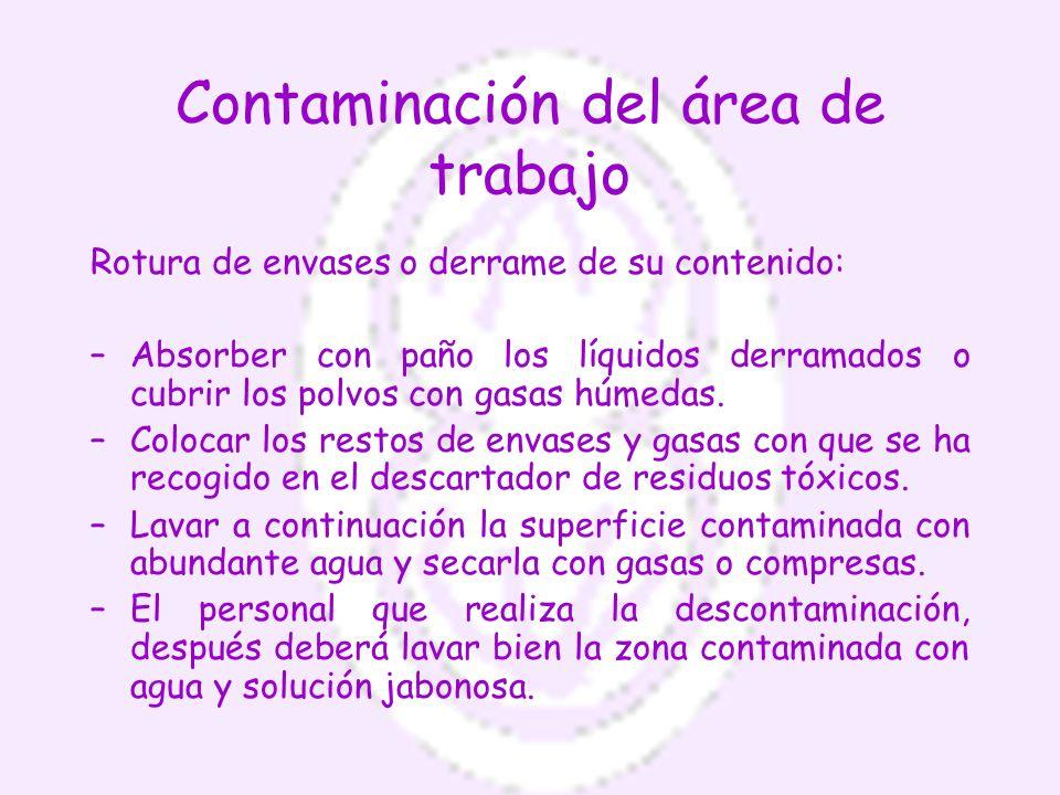 Contaminación del área de trabajo