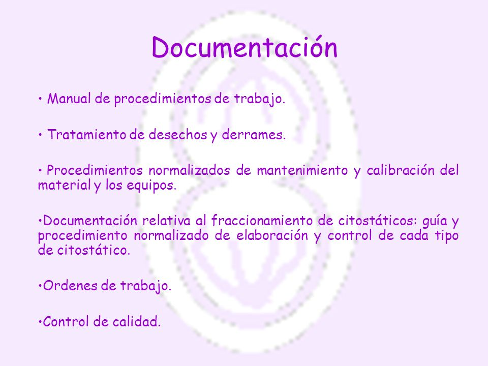 Documentación Manual de procedimientos de trabajo.