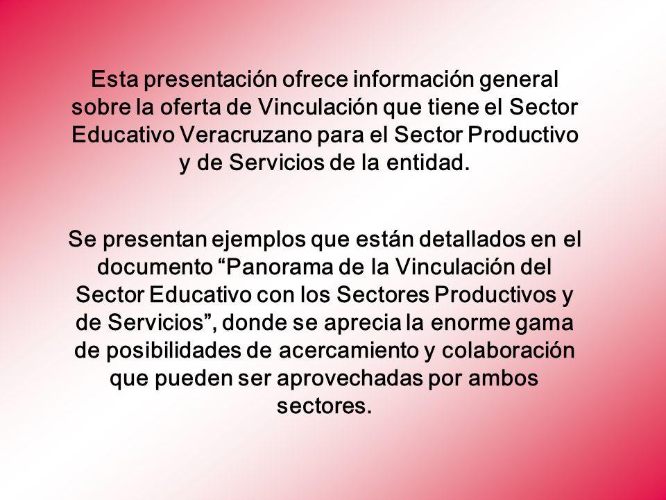 Esta presentación ofrece información general sobre la oferta de Vinculación que tiene el Sector Educativo Veracruzano para el Sector Productivo y de Servicios de la entidad.