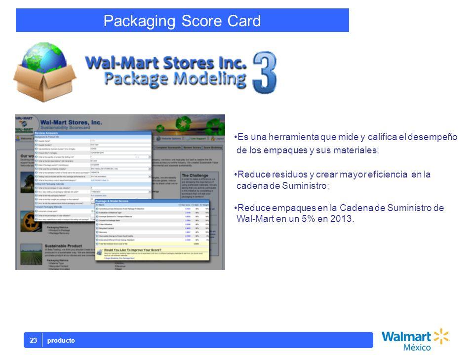 Packaging Score CardEs una herramienta que mide y califica el desempeño. de los empaques y sus materiales;