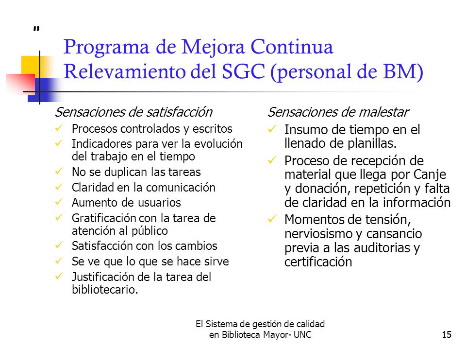 Programa de Mejora Continua Relevamiento del SGC (personal de BM)