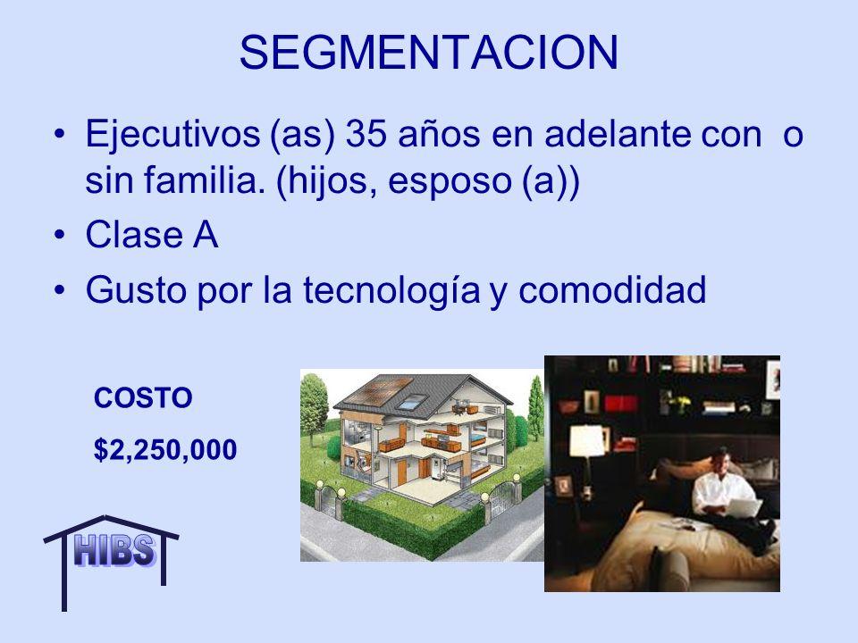 SEGMENTACION Ejecutivos (as) 35 años en adelante con o sin familia. (hijos, esposo (a)) Clase A. Gusto por la tecnología y comodidad.