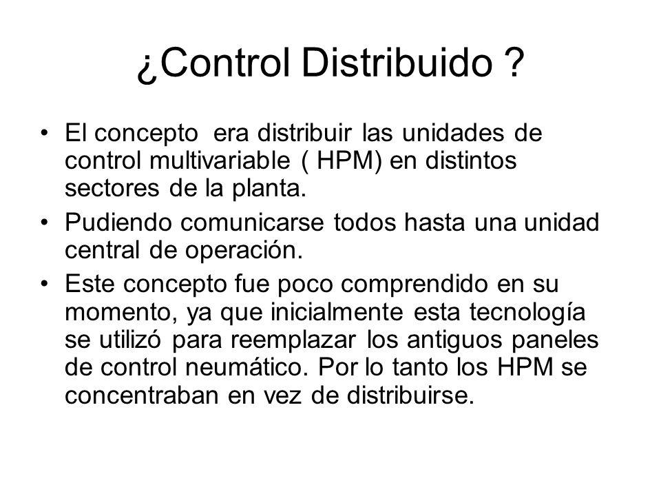 ¿Control Distribuido El concepto era distribuir las unidades de control multivariable ( HPM) en distintos sectores de la planta.