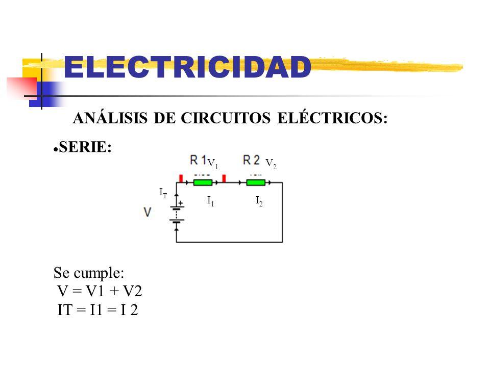 ELECTRICIDAD ANÁLISIS DE CIRCUITOS ELÉCTRICOS: SERIE: Se cumple: