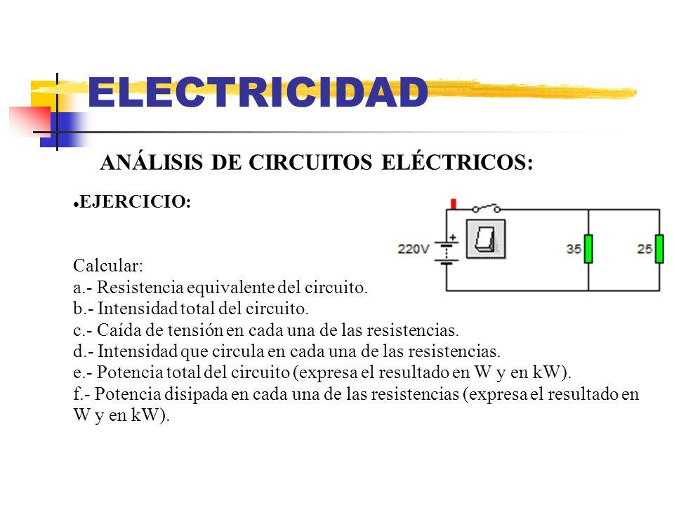 ELECTRICIDAD ANÁLISIS DE CIRCUITOS ELÉCTRICOS: EJERCICIO: Calcular:
