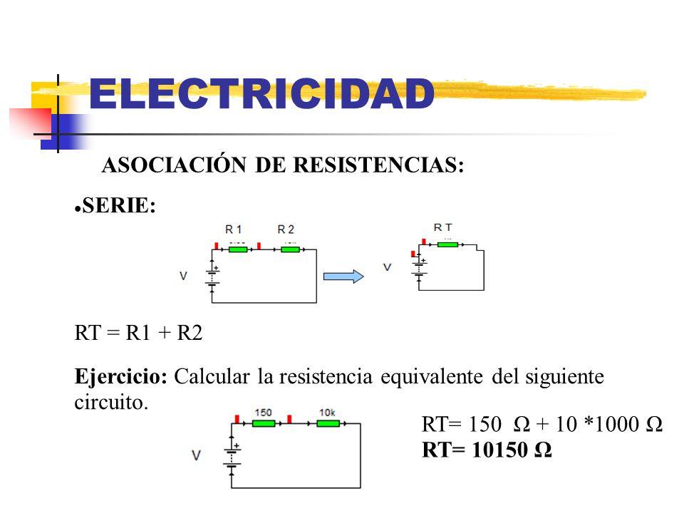 ELECTRICIDAD ASOCIACIÓN DE RESISTENCIAS: SERIE: RT = R1 + R2