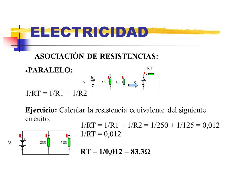 ELECTRICIDAD ASOCIACIÓN DE RESISTENCIAS: PARALELO: 1/RT = 1/R1 + 1/R2