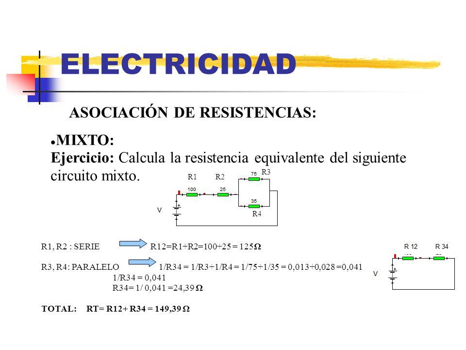 ELECTRICIDAD ASOCIACIÓN DE RESISTENCIAS: MIXTO: