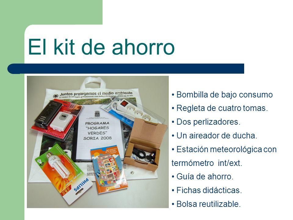El kit de ahorro Bombilla de bajo consumo Regleta de cuatro tomas.
