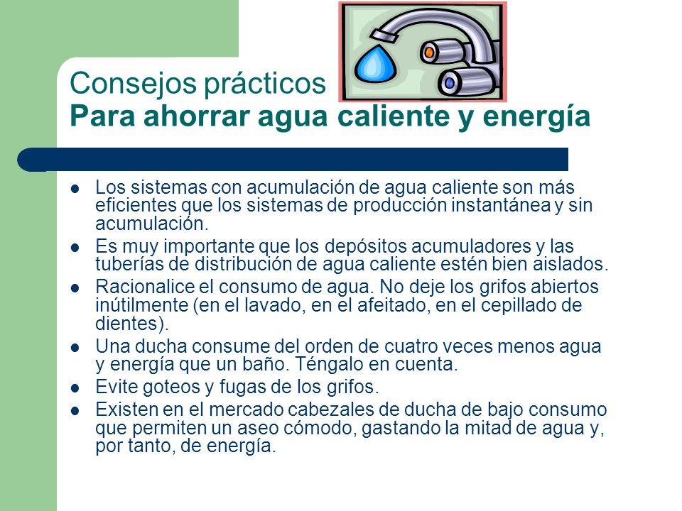 Consejos prácticos Para ahorrar agua caliente y energía