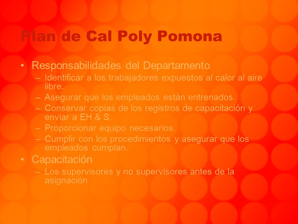 Plan de Cal Poly Pomona Responsabilidades del Departamento