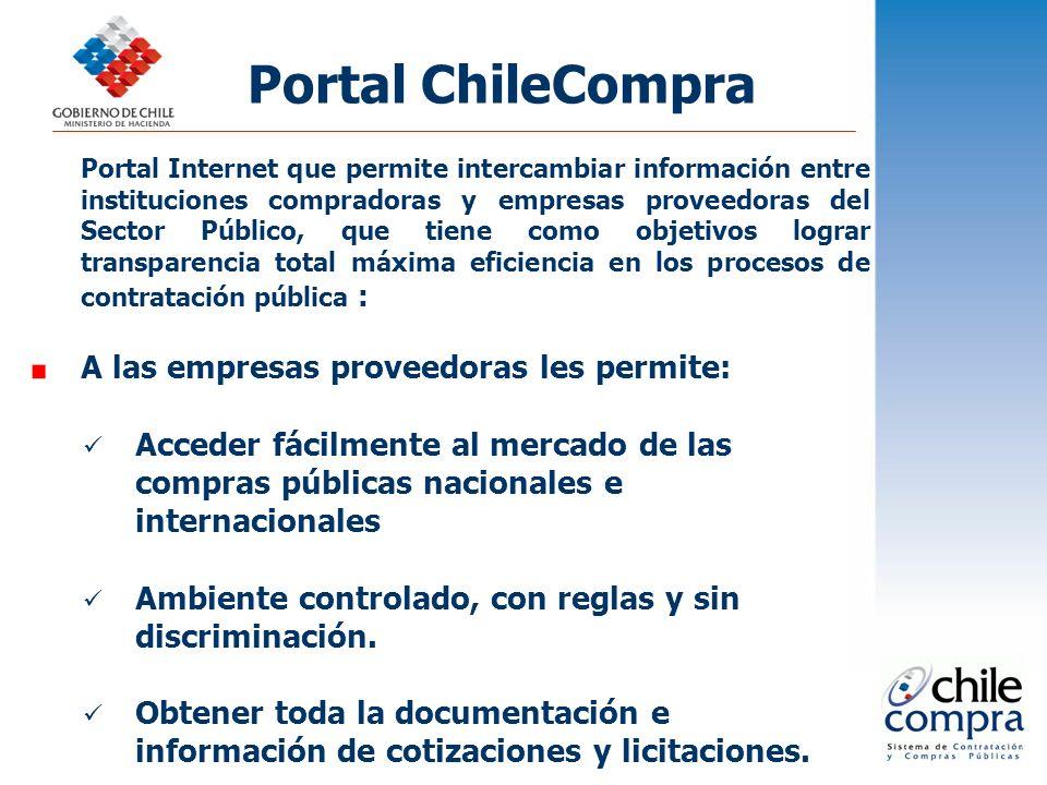 Portal ChileCompra A las empresas proveedoras les permite: