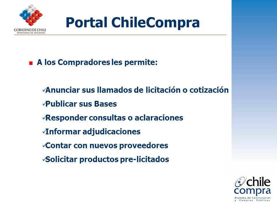 Portal ChileCompra A los Compradores les permite: