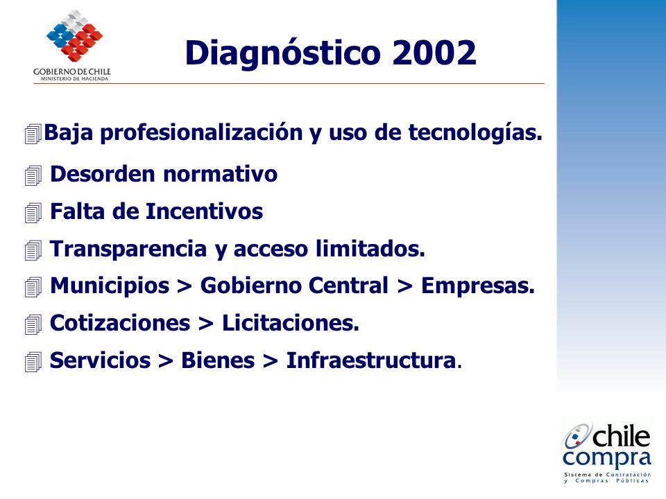 Diagnóstico 2002 Baja profesionalización y uso de tecnologías.