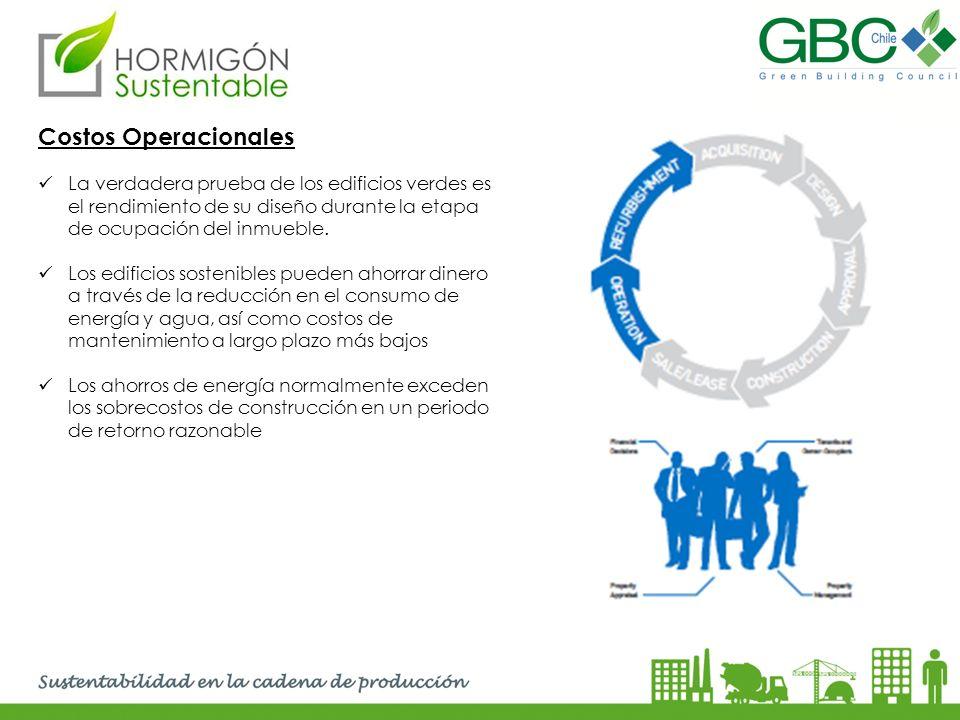 Costos Operacionales La verdadera prueba de los edificios verdes es el rendimiento de su diseño durante la etapa de ocupación del inmueble.