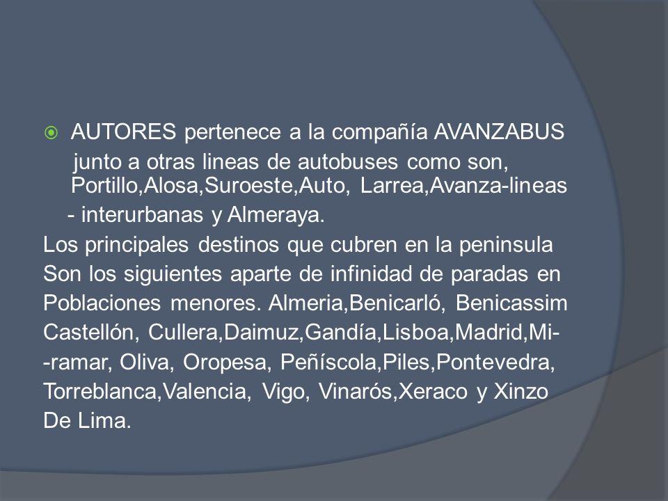 AUTORES pertenece a la compañía AVANZABUS