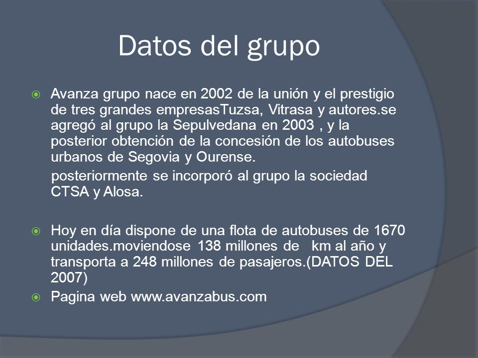 Datos del grupo