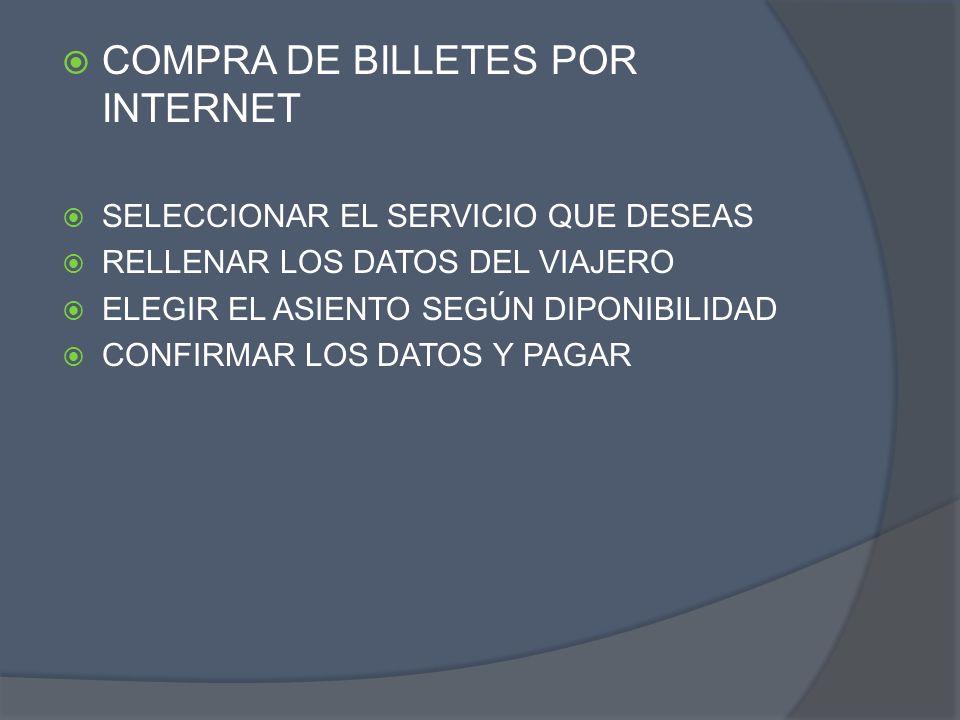 COMPRA DE BILLETES POR INTERNET