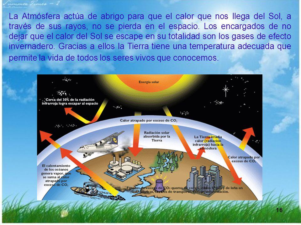 La Atmósfera actúa de abrigo para que el calor que nos llega del Sol, a través de sus rayos, no se pierda en el espacio. Los encargados de no dejar que el calor del Sol se escape en su totalidad son los gases de efecto invernadero. Gracias a ellos la Tierra tiene una temperatura adecuada que permite la vida de todos los seres vivos que conocemos.