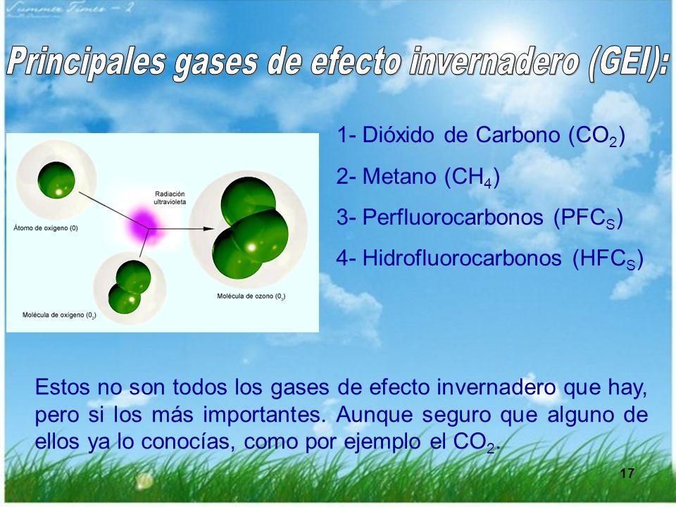 Principales gases de efecto invernadero (GEI):