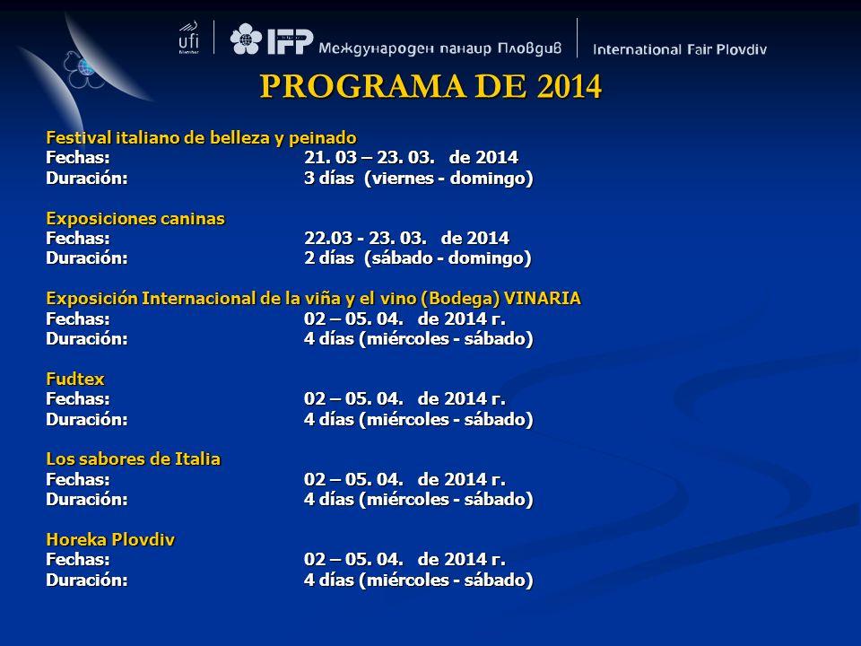 PROGRAMA DE 2014 Festival italiano de belleza y peinado