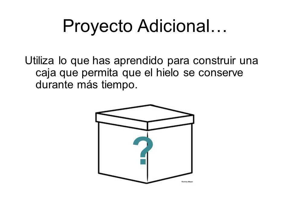 Proyecto Adicional… Utiliza lo que has aprendido para construir una caja que permita que el hielo se conserve durante más tiempo.