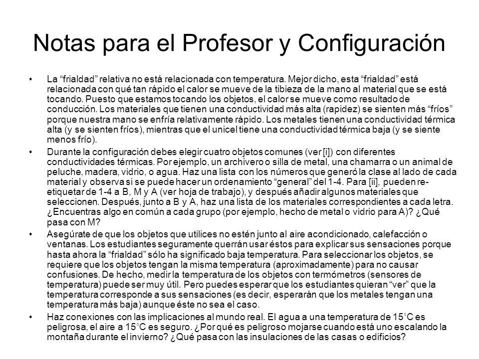 Notas para el Profesor y Configuración