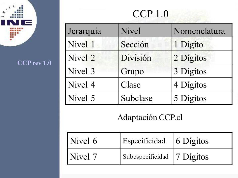 CCP 1.0 Jerarquía Nivel Nomenclatura Nivel 1 Sección 1 Dígito Nivel 2