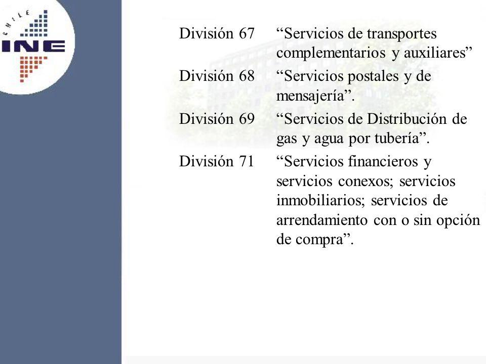División 67 Servicios de transportes complementarios y auxiliares