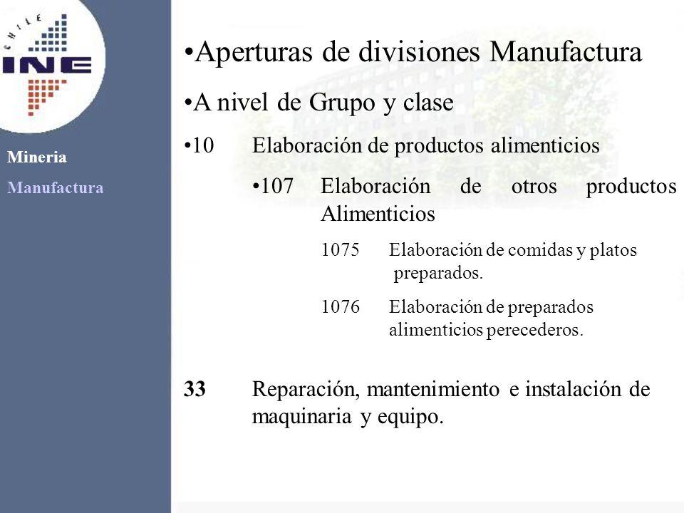 Aperturas de divisiones Manufactura