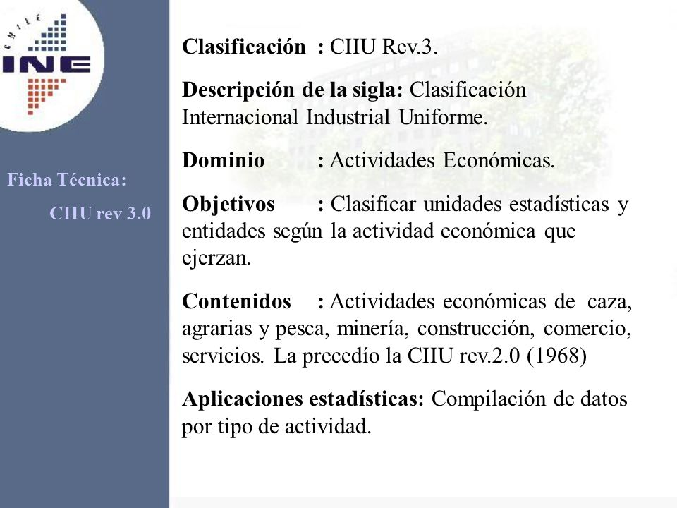 Ficha Técnica: CIIU rev 3.0