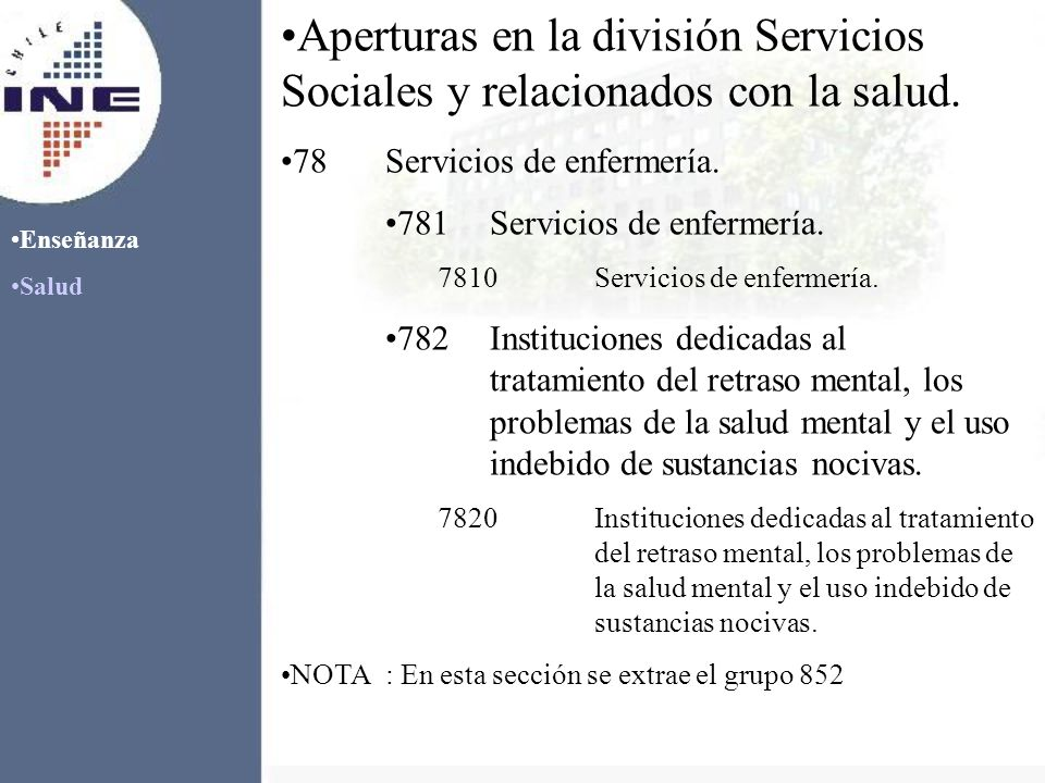 Aperturas en la división Servicios Sociales y relacionados con la salud.