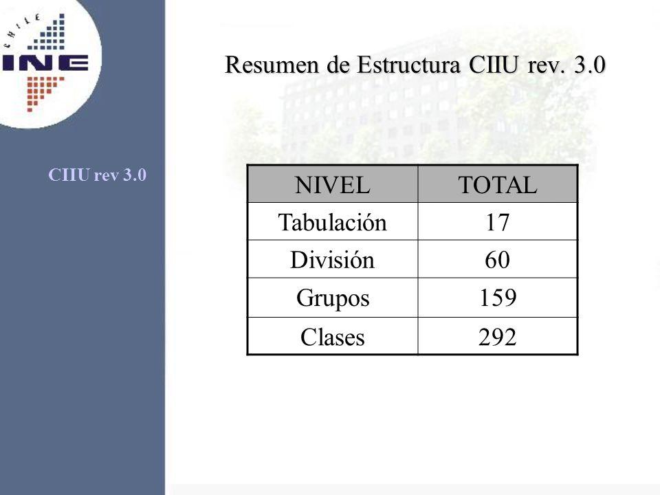 Resumen de Estructura CIIU rev. 3.0