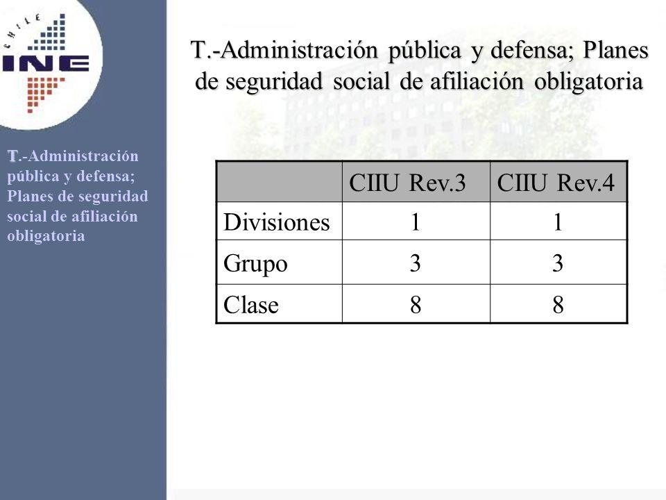 T.-Administración pública y defensa; Planes de seguridad social de afiliación obligatoria