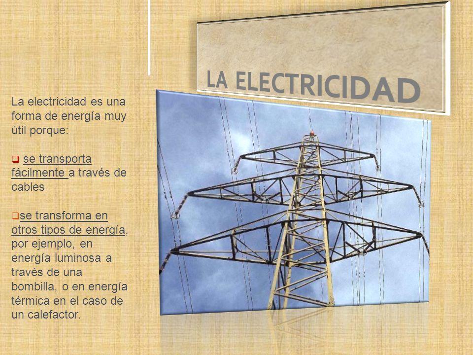 LA ELECTRICIDAD La electricidad es una forma de energía muy útil porque: se transporta fácilmente a través de cables.